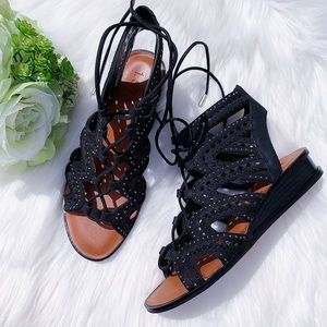 1.State Black Leather Lace Up Wedge Sandals Size 9